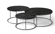 ethnicraft teak tabwa round nesting coffee table - set of 3, varnished, L 25"