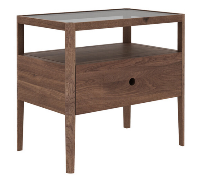 ethnicraft walnut spindle bedside table