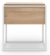 ethnicraft oak monolit bedside table, white