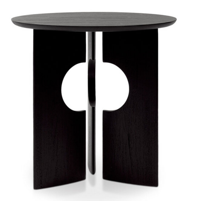 teak cove black side table
