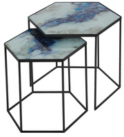 hexagon cobalt mist side table set