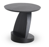 teak oblic black side table