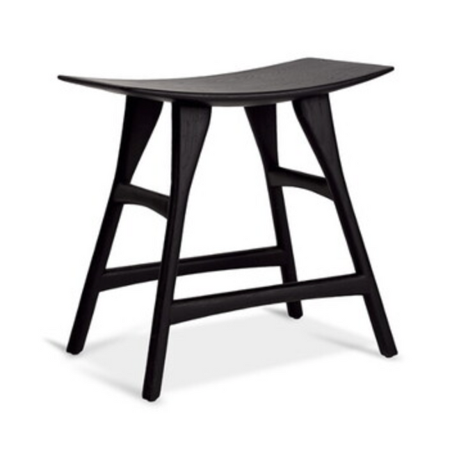 osso black varnished oak dining stool