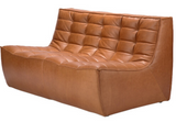 old saddle leather 2 seater sectional sofa