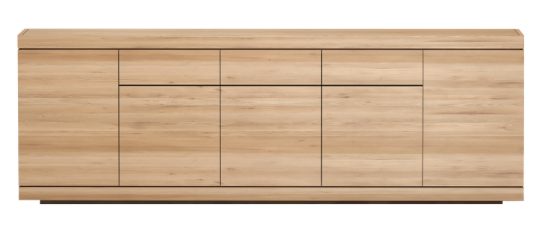 ethnicraft oak burger sideboard - 5 doors - 3 drawers, L 98"