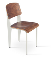 cite pe dining chair, natural oak, white frame, W 17"