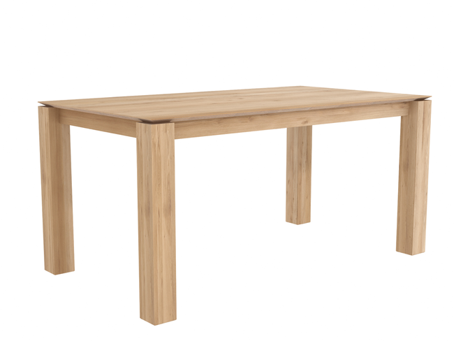 ethnicraft oak slice dining table, legs 10 x 10 cm, L 63"