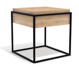 ethnicraft oak monolit small side table, black frame, removable cover, W 20"
