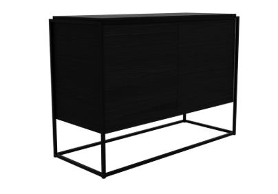 ethnicraft monolit sideboard - 2 doors, finish: black varnished oak, black metal frame, L 43"