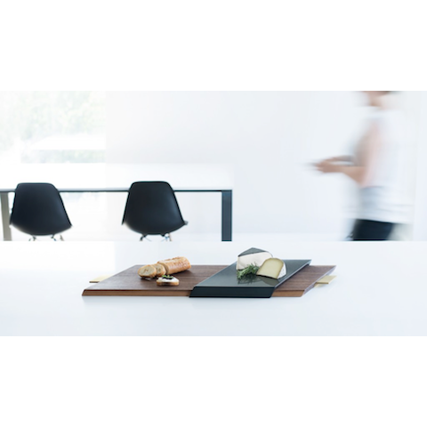 finell slide serving tray, walnut with black quartz
