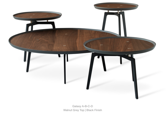 cite gy coffee table b, walnut veneer, black base, Ø 21.5""