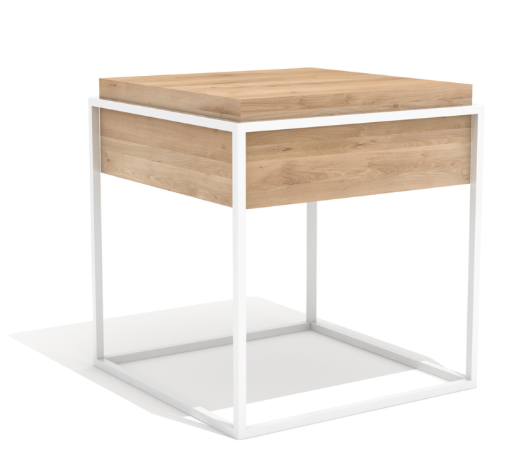 ethnicraft oak monolit small side table, white frame, removable cover, W 19"