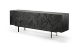 teak graphic sideboard - 3 doors, finish: black varnished, L 88"