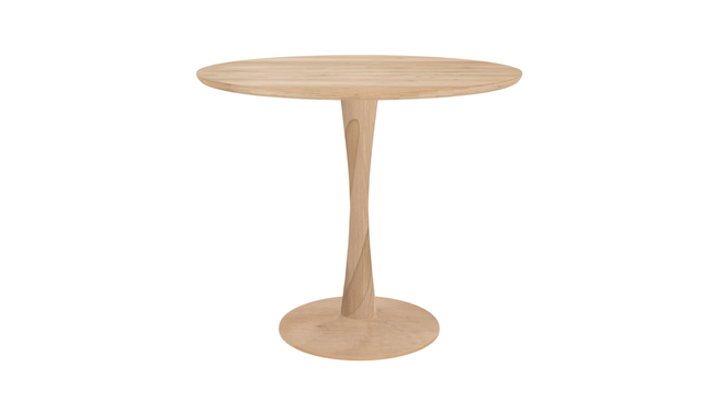 ethnicraft oak torsion dining table, varnished, Ø 35"