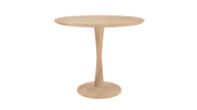 ethnicraft oak torsion dining table, varnished, ø50"
