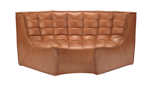 ethnicraft n701 sofa, round corner, old saddle, W 66"