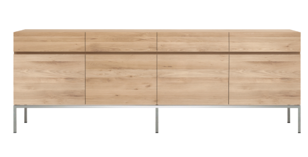 ethnicraft oak ligna sideboard - 4 doors - 4 drawers, silver base, L 87"