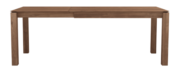 ethnicraft teak slice extendable dining table - legs 10 x 10 cm, L 71/110"