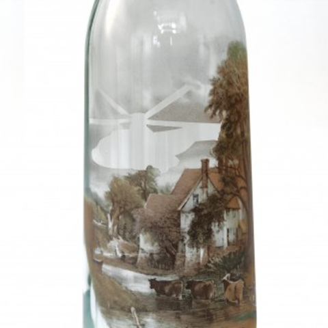 usuals recycled bottle with handcut helicopter transfer