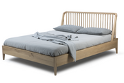 ethnicraft oak spindle bed - with slats - US king size - varnished, L 80"