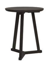 ethnicraft oak tripod side table, black varnished, Ø 18"