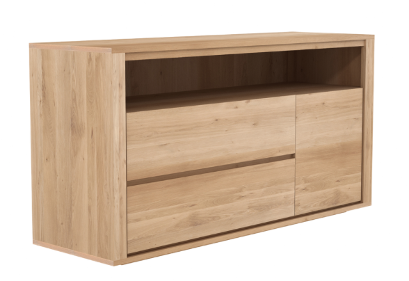 ethnicraft oak shadow chest of drawers, 1-door 2-drawers - W 63"