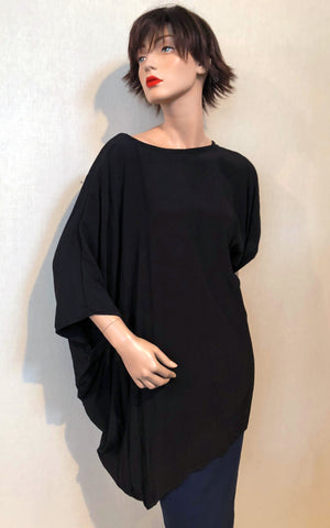 MEK Top in Black Viscose