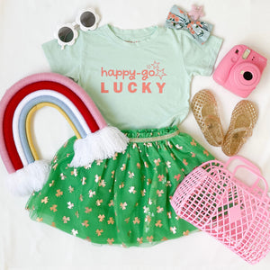 happy-go LUCKY • kids tee (mint)