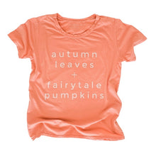 Load image into Gallery viewer, AUTUMN LEAVES + FAIRYTALE PUMPKINS •boyfriend tee SALE ITEM
