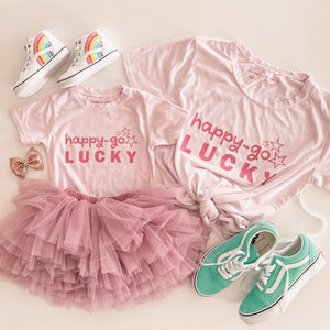 happy-go LUCKY • kids tee (lilac pastel)
