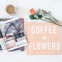 Load image into Gallery viewer, COFFEE + FLOWERS •boyfriend tee • SALE ITEM / collaboration with Olive & Eve Co