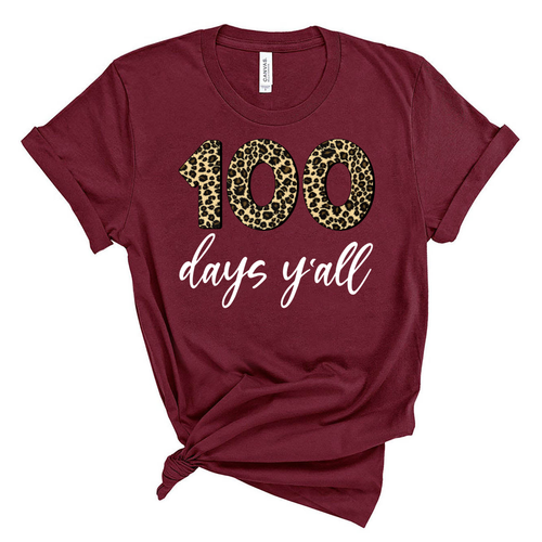 100 Days Y'all Leopard Print Spirit Shirt