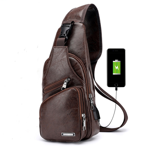 2pcs Men Cross Body Bag With Usb Charging Port