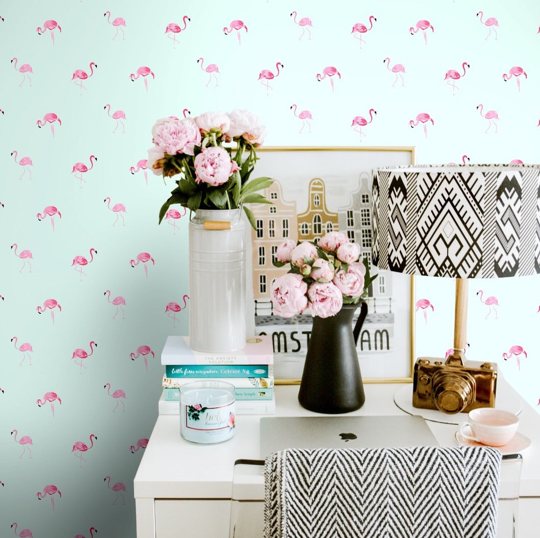 Mint and Pink Flamingo Self Adhesive Wallpaper in Romantic Interior With Peonies - The Wallberry