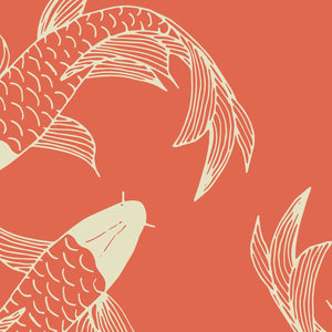 Orange Koi Fish Peel And Stick Wallpaper - The Wallberry