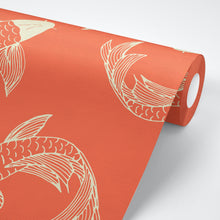 Load image into Gallery viewer, Orange Koi Fish Peel And Stick Wallpaper - The Wallberry