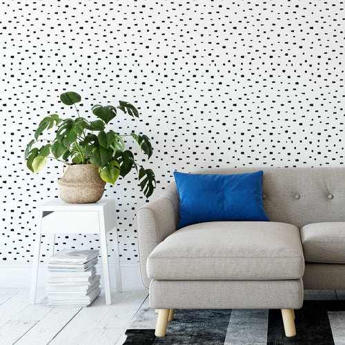 Black and White Dots Peel and Stick Wallpaper - The Wallberry