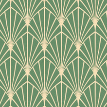 Load image into Gallery viewer, Green Art Deco Peel And Stick Wallpaper - The Wallberry