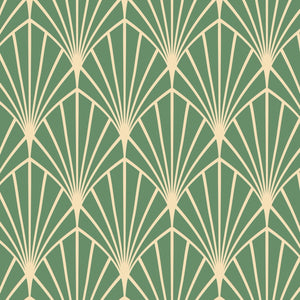 Green Art Deco Peel And Stick Wallpaper - The Wallberry