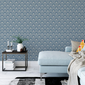 Blue Art Deco Wallpaper - The Wallberry