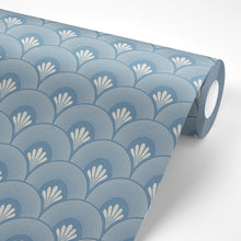 Load image into Gallery viewer, Blue Art Deco Wallpaper - The Wallberry