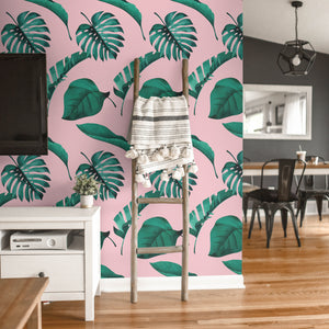 Jungle Bubblegum - Pink Tropical Wallpaper - The Wallberry