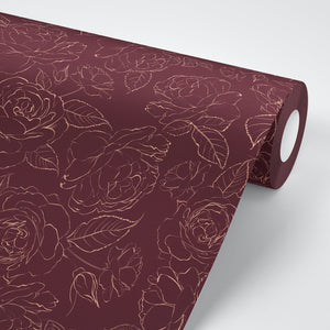 Red Rose Floral Self Adhesive Wallpaper - The Wallberry