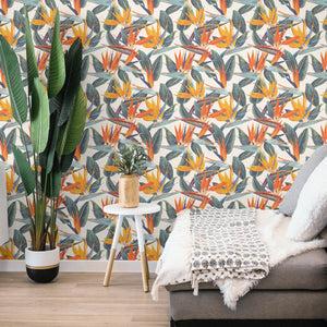 Strelitzia Wallpaper | White Bird of Paradise - The Wallberry