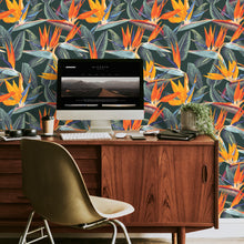 Load image into Gallery viewer, Strelitzia Wallpaper | Green Bird of Paradise - The Wallberry