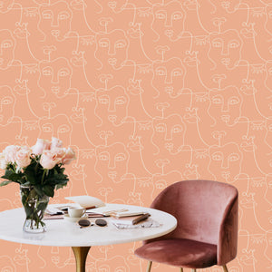 Face Line Drawing Peel and Stick Wallpaper - The Wallberry