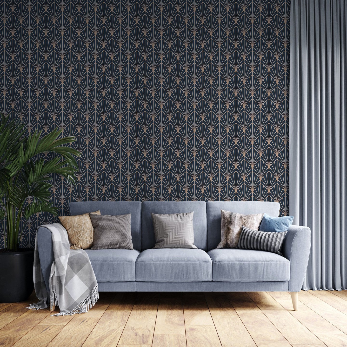 Dark Art Deco Peel And Stick Wallpaper - The Wallberry