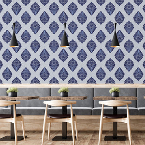Blue Damask Self Adhesive Wallpaper - The Wallberry
