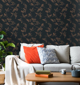 Dark Birds Peel and Stick Wallpaper - The Wallberry