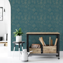 Load image into Gallery viewer, Abstract Teal Peel And Stick Wallpaper - The Wallberry